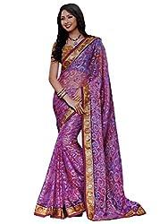 LolyDoll Women's Brasso Floral Print Purple Bollywood Saree, Casual/Festival_SR33