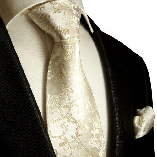 Mens Tie Set 2pcs. champagne wedding Paul Malone 100% Silk tie for men Necktie + Handkerchief