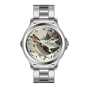 FYD Watch Man's Fashion Stainless Steel Band Watch Vintage Fisherman Fishing Rainbow Trout Fish Watches
