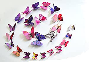 12 Pcs Colorful Vivid Butterflies Wall Sticker - Reusable Easy Instant Decoration Wall Sticker Decal