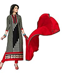 Pandadi Creation Women's Cotton Bleck and Red Color Suit Piece Dress Material With Nazneen Dupattal.