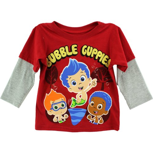 Nickelodeon Little Boys' Bubble Guppies Long Sleeve Tee, Chili Pepper, 3T front-1033468