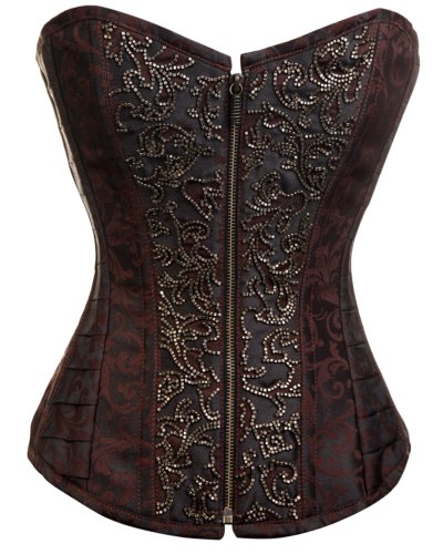 CD-230 - Brown Brocade Overbust Steampunk Steel boned Corset - 22