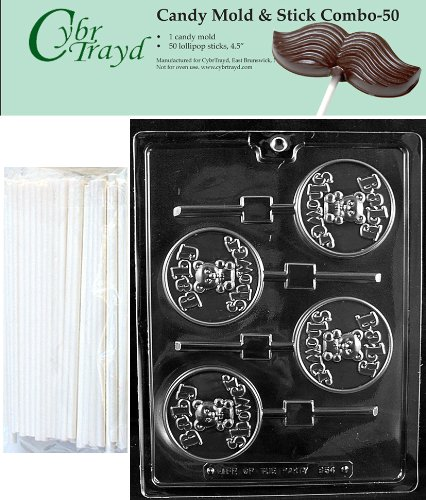 """Cybrtrayd 45St50-B054 Baby Shower Lolly Chocolate Candy Mold With 50 Cybrtrayd 4.5"""" Lollipop Sticks front-986717"""