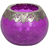 Artefacts Glass Candle Bowl With Candle (11 Cm X 14 Cm X 11 Cm, Silver & Purple)