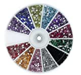 12 Color 2400pcs New Nail Art Rhinestones Glitters Acrylic Tips Decoration Manicure Wheel