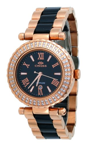 Oniss #ON820-LRG Women's Rose Gold Stainless Steel Black Ceramic Combo Black Dial Watch