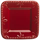 Signature Housewares Sorrento Collection 6-Inch Square Plate, Ruby Antiqued Finish