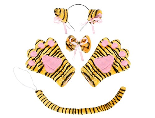 [SDBING Cute Cat Cosplay Neko Anime Costume Tail Bow (Tiger)] (Cute Tiger Costumes Women)