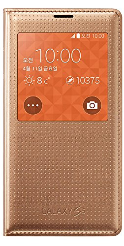 Punched S5 Case, Samsung Galaxy S5 View Flip Case Ef-Cg90 (G900) S View Cover Screen Auto On & Off Function (Gold)