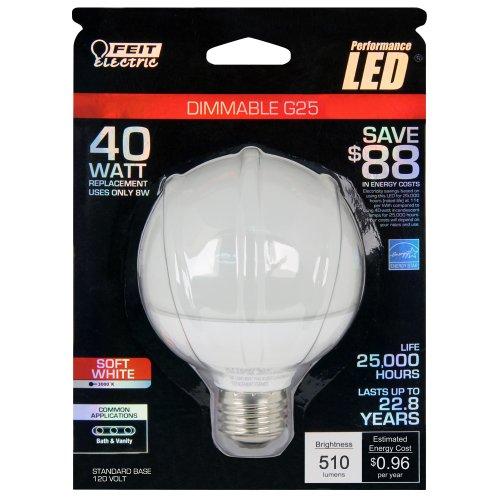 Feit G25/Dm/Ledg2 Led Dimmable G25 Globe White 40W Equivalent