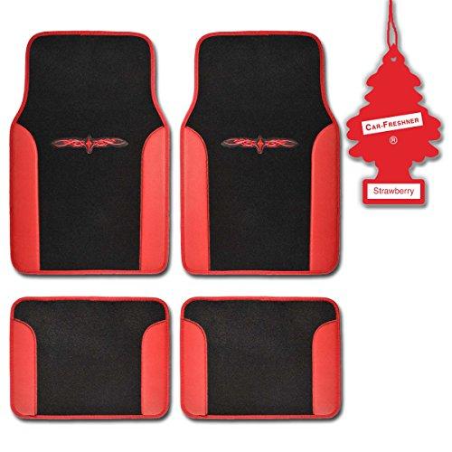 Bdk Red Tribal Print Carpet Car Floor Mats Durable Plush Fit 4 Pcs W/Strawberry front-535785