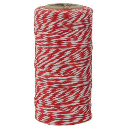 The Gift Wrap Company Baker's Twisted Twine, 500 yd, Red/White