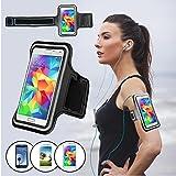SAVFY® Noir Brassard Armband Sport pour Samsung Galaxy S3/S4/S5 / GT-i9300/i9500/i9600 pour le Jogging / Gym / Sport - confortable avec sangle réglable