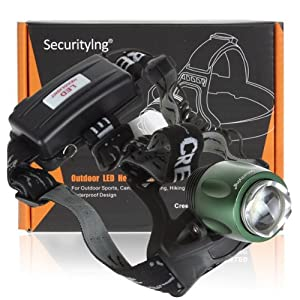 SecurityIng 500 Lumens LB-XL T6 LED Waterproof Zoomable Rotating Headlamp
