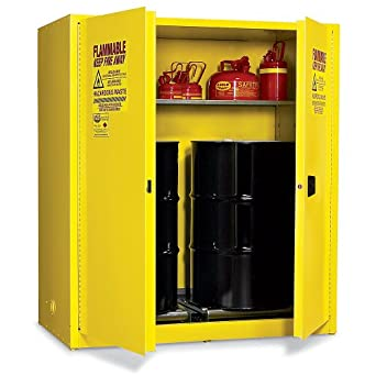 "Eagle HAZ1955 Drum Storage Safety Cabinet for Flammable Liquids, 2 Door Manual Close, 110 gallon, 65""Height, 58""Width, 31-1/2""Depth, Steel, Yellow"