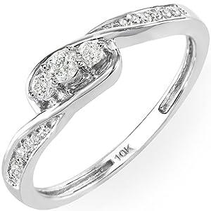0.25 Carat (ctw) 10K Gold Round Diamond Ladies 3 Stone Engagement Promise Ring 1/4 CT from DazzlingRock