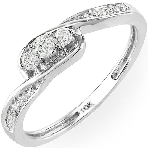 0.25 Carat (ctw) 10k White Gold Round Diamond Ladies 3 stone Engagement Twisted Promise Bridal Ring 1/4 CT