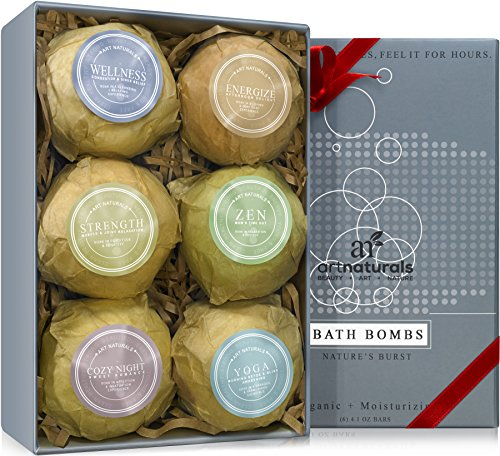 Art Naturals Bath Bombs Mothers Day Gift Set - 6 Ultra Lush Essential Oil Handmade Spa Bomb Fizzies - Organic & Natural Ingredients & Shea Butter for Moisturizing Dry Skin - Relaxation In a Box (Target Gift Card $10 compare prices)