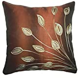 "That's Perfect! Lotus Leaves 18""x18"" Decorative Silk Throw Pillow Sham - COVER (Copper)"