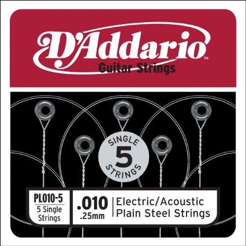 D'Addario PL010-5 Plain Steel Guitar Single String,