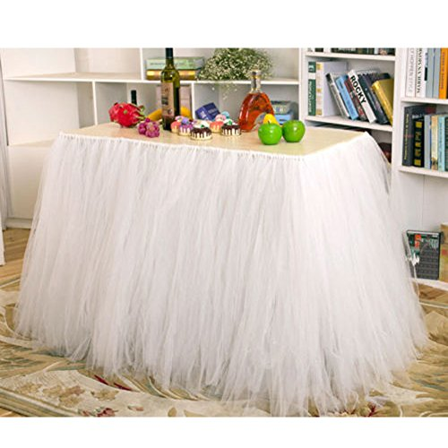 AerWo Tutu Table Skirts Tulle Queen Snowflake Wonderland Tutu Table Cloth for Girl Princess Party Baby Shower Wedding Birthday Parties Decoration White