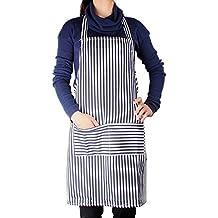 Bilipala Stripe Cooking Apron Cotton Canvas Work Apron (Blue And White Stripes)