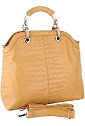 MG Collection RITA Faux Crocodile Print Satchel Style Office Tote Bag
