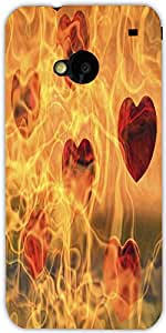 Snoogg Flames Designer Protective Back Case Cover For Htc One M7