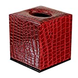Creative Cute Leather Tissue Box Holder Alligator Pattern (Wine-red)