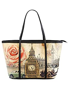Digital Print Faux Leather Tote, Everyday Tote, Shopping Tote, Travel Tote