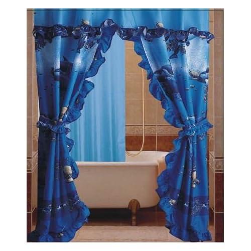 ... Tie backs Liner Matching Rings Bathroom Shower Curtain Set 1159Dol