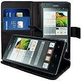 kwmobile® Elegante Wallet Kunstledertasche für das Huawei Ascend G700 mit Magnetverschluss und Ständerfunktion in Schwarz