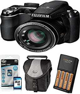 Fujifilm FinePix S4000 Digital Camera + 8GB Memory + Case+ 4xAA Battery+ Charger And Charger (14MP, 30x Optical Zoom) 3-inch LCD
