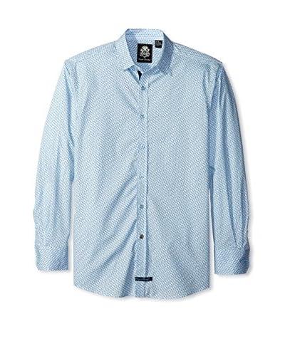 English Laundry Men's Mini Print Long Sleeve Sport Shirt