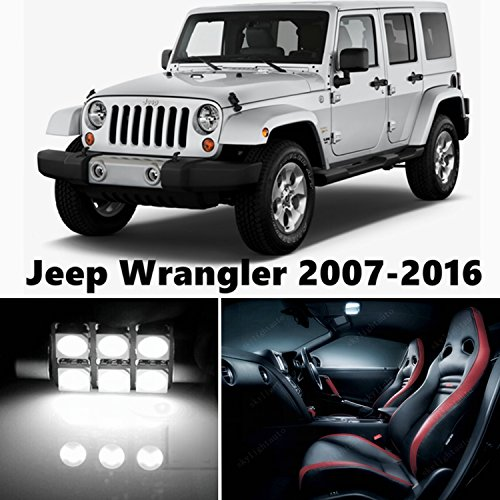 10pcs Led Premium Xenon White Light Interior Package Deal For Jeep Wrangler 2007 2016 Cars N