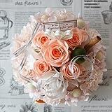 fleurcocoオリジナル 【プリザーブドフラワーギフト】枯れない魔法のお花のフラワーケーキ・ケースイン♪ ファニーピーチLサイズ:オレンジ」 誕生日プレゼント 記念日 お祝い  結婚祝いプレゼント