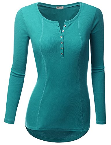 Doublju Womens Basic Casual Long Sleeve Thermal Henley T-Shirt TEAL SMALL (Thermal Shirts Long Sleeve Women compare prices)