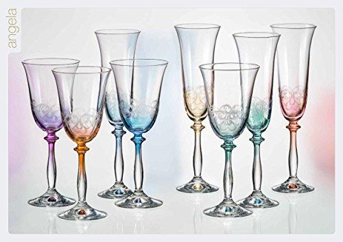 Bohême Cristal Angela. Coffret de 6 flûtes á Champagne.190ml Multicolores,gravêe