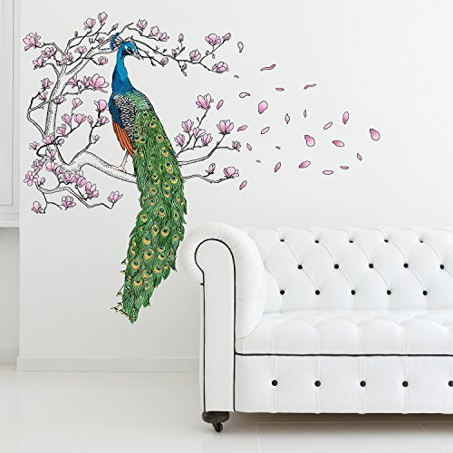 wand sticker pfau und magnolie baum wandkunst wandmalerei. Black Bedroom Furniture Sets. Home Design Ideas
