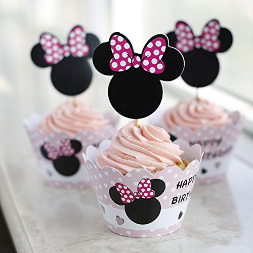 Set Of 12 Minnie Mouse Girls Kids Birthday Party Paper Cupcake Liner Wrap Wrappers With Toppers