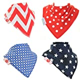 Zippy Fun Baby and Toddler Bandana Bib - Absorbent 100% Cotton Front Drool Bibs with Adjustable Snaps (4 Pack Gift Set) Unisex Stars and Spots