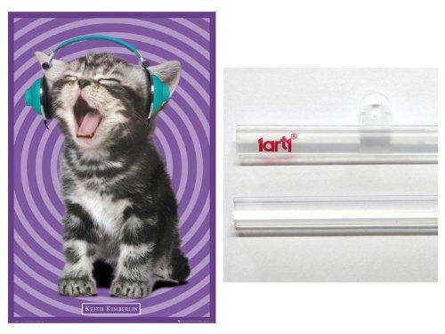 """Poster + Hanger: Cats Poster (36X24 """") Kitten Headphones , Keith Kimberlin And 1 Set Of 1Art1® Poster Hangers"""