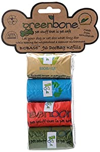 Greenbone Biobase Refill Pet Waste Bag, 8 Rolls, Assorted Colors