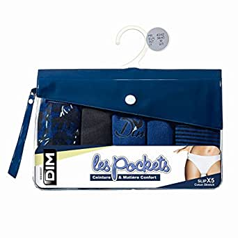 Dim Pocket Coton - Culotte - Lot de 5 - Femme - Multicolore (Lot Jardin Bleu) - FR: 36 (Taille fabricant: 36/38)