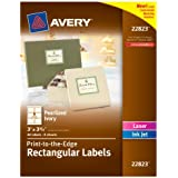 Avery 3 x 3.75 Inches Print-to-the-Edge Rectangular Labels, Pack of 48 , Pearlized Ivory (22823)