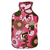 Warm Tradition Peace & Love Fleece Covered Hot Water Bottle- Bottle made in Germany, Cover made in USA