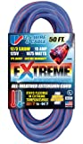 US Wire 99050 12/3 50-Foot SJEOW TPE Cold Weather Extension Cord Blue with Lighted Plug