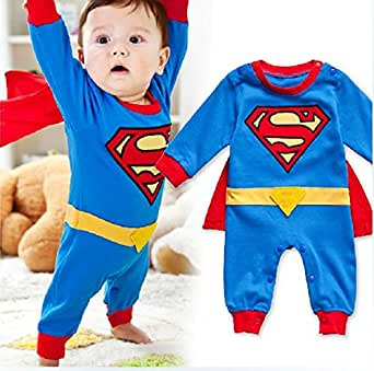 StylesILove Baby Boy Superman Costume Jumpsuit and Cape Blue