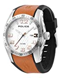 Police Men's Topgear X Watch 12557Js/04C with Orange Pu,Black Leather Strap and Silver Dial